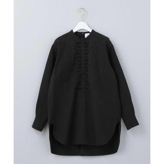 ★roku★6★unitedarrows★フロントフリルシャツ★ブラック黒★