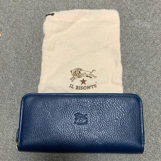 イルビゾンテ(IL BISONTE)の新品 IL BISONTE ラウンドファスナー 長財布 ブルー 袋付き(長財布)