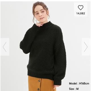 ジーユー(GU)のGU 完売 人気 カノコハイネックセーター(長袖) 黒 M 送料込み 値下げ(ニット/セーター)