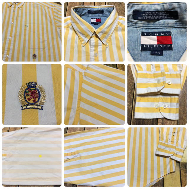 TOMMY HILFIGER(トミーヒルフィガー)の【激レア】トミーヒルフィガー☆オールド刺繍ロゴボールドストライプシャツ 90s メンズのトップス(シャツ)の商品写真