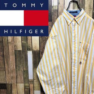 TOMMY HILFIGER - 【激レア】トミーヒルフィガー☆オールド刺繍ロゴボールドストライプシャツ 90s