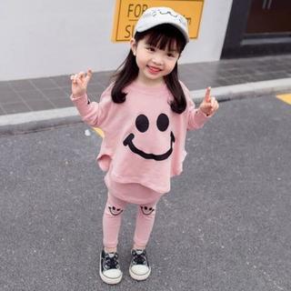 【80/ピンク】 スマイル の上下セット('ω')
