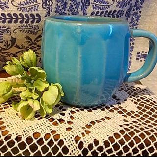 トルコブルー陶器マグカップ  現品のみとなります。ご購入前にコメント下さい。