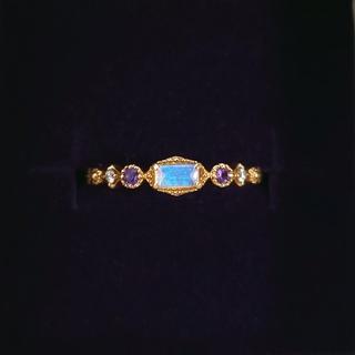 アガット(agete)のアガット オパール アメジスト ダイヤモンド 9号 イエローゴールド K14(リング(指輪))