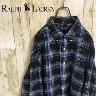 Ralph Lauren - ラルフローレン ワンポイント ブルーポニー  刺繍ロゴ チェック BDシャツ