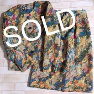 Santa Monica - 黄色系 ペイントアート エンボス マダム 派手 セットアップ ジャケットスカート