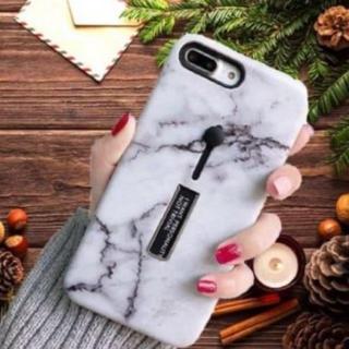 大理石柄 iPhoneケースXR ホワイト スライドリング付き