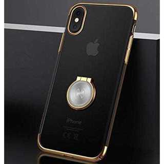 360度回転 リング付き 車載ホルダー ゴールド iPhone7/8(iPhoneケース)