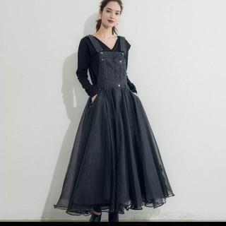 snidel - 新作♡ 異素材 コンビネーション ワンピース チュールスカート