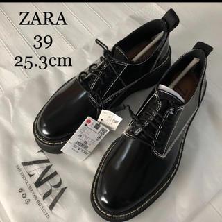 ZARA - 【新品・未使用】ZARA トップステッチ入り シューズ 25.3cm