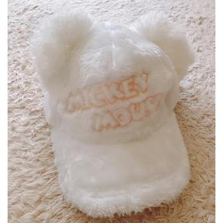 Disney - 【Disneyパーク内限定品】ポンポン耳付きもこもこキャップ(白)