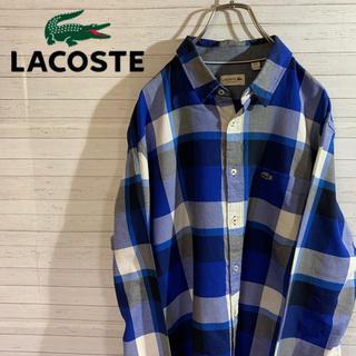 LACOSTE - 【LACOSTE】ラコステ ブロックチェック シャツ ワンポイント刺繍ロゴXL
