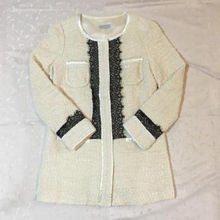 バーニーズニューヨーク(BARNEYS NEW YORK)の美品 バーニーズニューヨーク ツイード ジャケット コート 36 M(ノーカラージャケット)