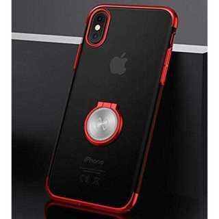 車載ホルダー 360度回転 リング クリアケース レッド  iPhoneXS/X(iPhoneケース)