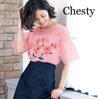 Chesty - Chesty フラワー刺繍ブラウス