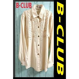 アートコレクション(Art Collection)のB-CLUB ビークラブ 長袖 刺繍シャツ クリームホワイト ブラウス トップス(シャツ/ブラウス(長袖/七分))