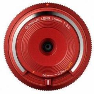 オリンパス(OLYMPUS)の新品 ボディキャップレンズ 15mm f8 レッド BCL-1580(レンズ(単焦点))