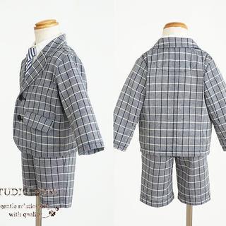 スタジオミニ(STUDIO MINI)のスタジオミニ チェック柄フォーマルスーツ3セット(入学式・卒園式)(ドレス/フォーマル)