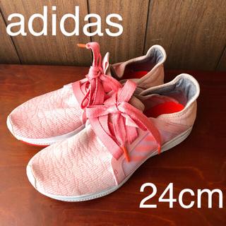 adidas - アディダスピンク24cmスニーカーリボン/ヨガルルレモンステラマッカートニー