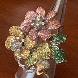 18 金 巨大 ダイヤ、サファイア お花のリング(リング(指輪))