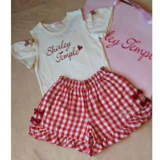 Shirley Temple - 120 シャーリーテンプル 赤 チェック 半袖Tシャツ キュロットパンツ セット