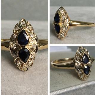 K18 アンティーク  サファイア  ダイヤモンド リング(リング(指輪))