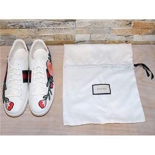Gucci - グッチ フラワー刺繍 レザースニーカー 白 2525,5cm