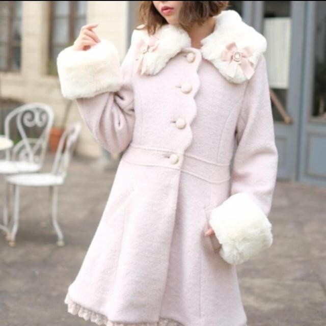 LIZ LISA(リズリサ)のリズリサリボンビジューコート ピンク レディースのジャケット/アウター(ロングコート)の商品写真