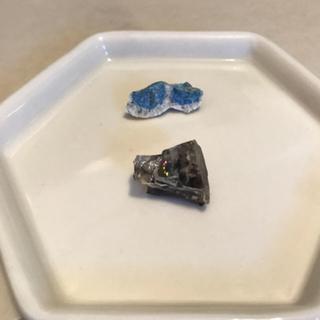 天然石 原石 ラフ  K2ストーン&デュモルチェライトインクォーツ セット(置物)
