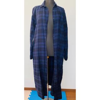 GU - ロングネルシャツ レディース  シャツワンピース 紺 ネイビー GU