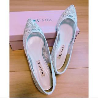 DIANA - 美品❤︎ Diana 白レースパンプス