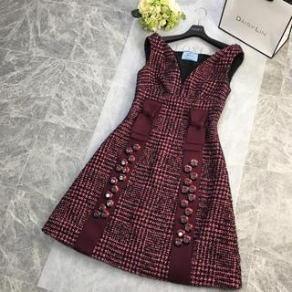 PRADA - 美品 プラダ PRADA 小顔Vライン ツイードフレア ドレス ワンピース