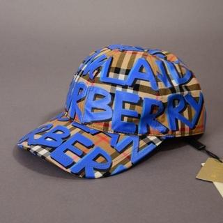 BURBERRY - 新品♡BURBERRYバーバリー♡グラフティ ペイントキャップ 帽子☆青ブルー