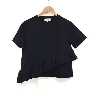 カルヴェン(CARVEN)のレディース トップス カットソー Tシャツ 半袖 コットン フリル XS 黒(カットソー(半袖/袖なし))