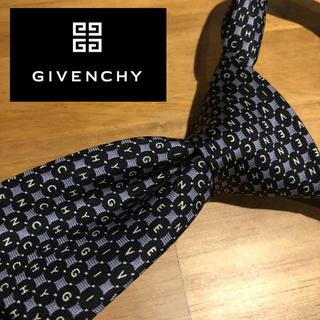 ジバンシィ(GIVENCHY)の【人気】givenchy  イタリア製最高級シルク100%ネクタイ 紺色 ロゴ(ネクタイ)