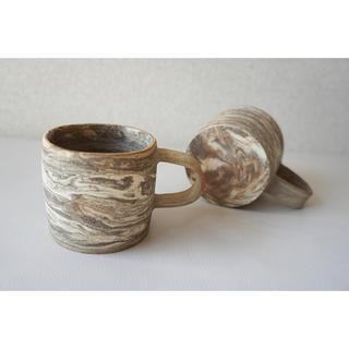 マーブルマグカップ ブラウン(ペア)(食器)
