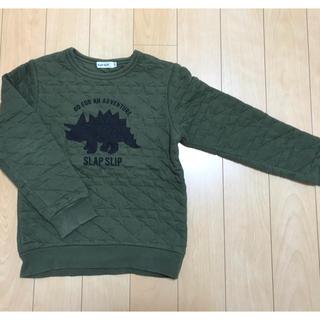 エーアーベー(eaB)のe.a.B キルトトレーナー 130㎝ カーキ 恐竜柄(Tシャツ/カットソー)
