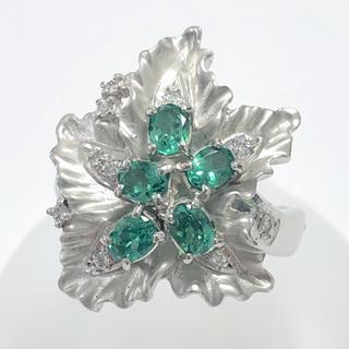 グリーングロッシュラーガーネット ダイヤモンド リング 指輪 pt900(リング(指輪))