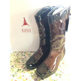 フィットフィット(fitfit)の一度着用美品 fitfit レインブーツ ボルドー×ブラウン 本革エナメル(ブーツ)