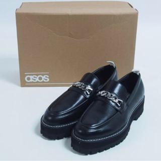 エイソス(asos)のASOS チェーンレザー厚底ローファー ブラック(ドレス/ビジネス)