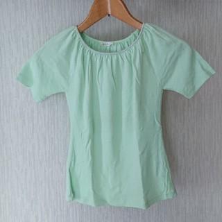 新品 グリーン 半袖ギャザ― シルバーカットソー(カットソー(半袖/袖なし))