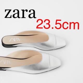 ZARA - 新品 ザラ 36 フラット レザー ミュール サンダル