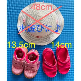crocs - 女の子 靴13.5 帽子 クロックスクロックバンド14 春夏 新品中古 1歳2歳