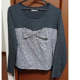 長袖リボンTシャツ カットソー グレー(Tシャツ(長袖/七分))