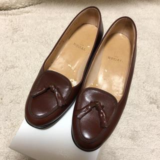 フラワー(flower)のローファー パンプス ブラウン used 古着(ローファー/革靴)