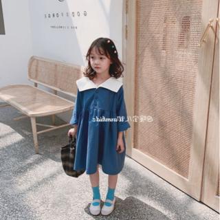 韓国こども服 ウエスタン風 ワンピース ブルー 110㎝