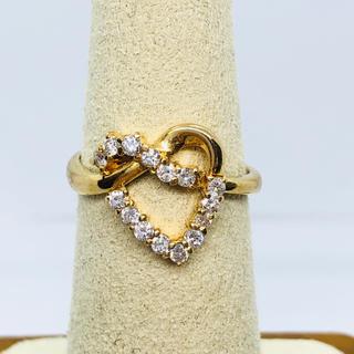 K18YG ハートモチーフ ダイヤモンド リング D:0.30ct(リング(指輪))