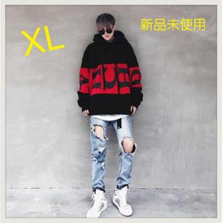 《赤字覚悟》メンズ ビッグシルエット パーカー オルチャンファッション 黒XL(パーカー)