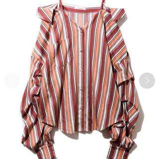 REDYAZEL - マルチストライプボリュームスリーブシャツ