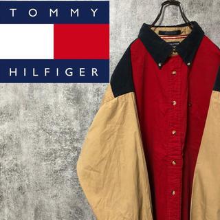 TOMMY HILFIGER - 【激レア】トミーヒルフィガー☆刺繍ロゴコーデュロイ切替クレイジーパターンシャツ